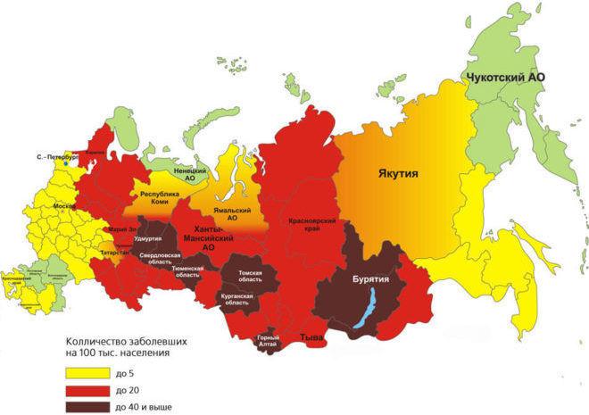Регионы с повышенной активностью клещей
