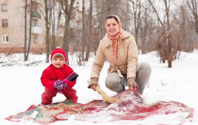 Выбивание ковров при минусовой температуре